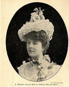 Eleganter Hut Aus Bast Mit Brüsseler Tüll Und Rosen * Bilddokument 1900