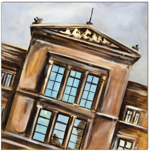 KLAUSEWITZ: ORIG. ACRYL GEMÄLDE AUF LEINWAND:NEUES MUSEUM- MUSEUMSINSEL/30x30 cm