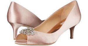 491604698343 Details about NIB Badgley Mischka Layla Sz 6.5 Blush Satin Embellished  Kitten Heel Pumps  195