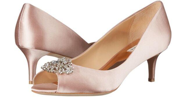 100% top quality performance sportswear sports shoes Badgley Mischka Layla Women's Bridal PEEP Toe HEELS PUMPS Ivory Satin Size  US 7
