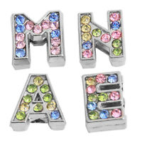 4pcs Hot Sale Colorful Rhinestone Letter NAME Bead Fit Belt Bracelet Making LC