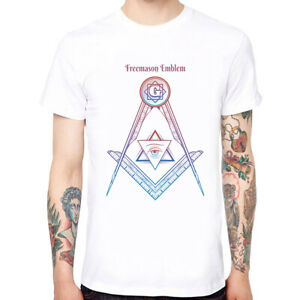 Freemason-Emblem-Men-039-s-Cotton-Funny-Cool-T-shirts-Short-Sleeve-Tops-Tee