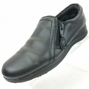 832b214f608 Dr Scholls Womens Size 11 M Black Leather Zip Wedge Loafer Comfort ...