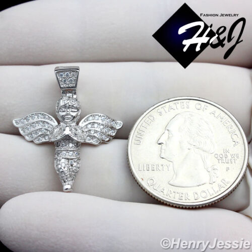 """925 STERLING SILVER 18/""""-30/""""X2MM GOLD//SILVER MOON CUT CHAIN 3D ANGEL PENDANT*SP95"""
