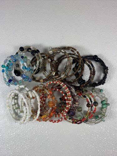 Lot of 18 handmade memory wire wrap Beaded bracele