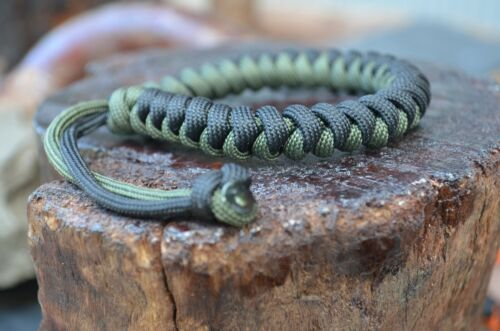 Two-Tone Snake Knot Paracord Bracelets With Adjustable Mad Max Closures EDC