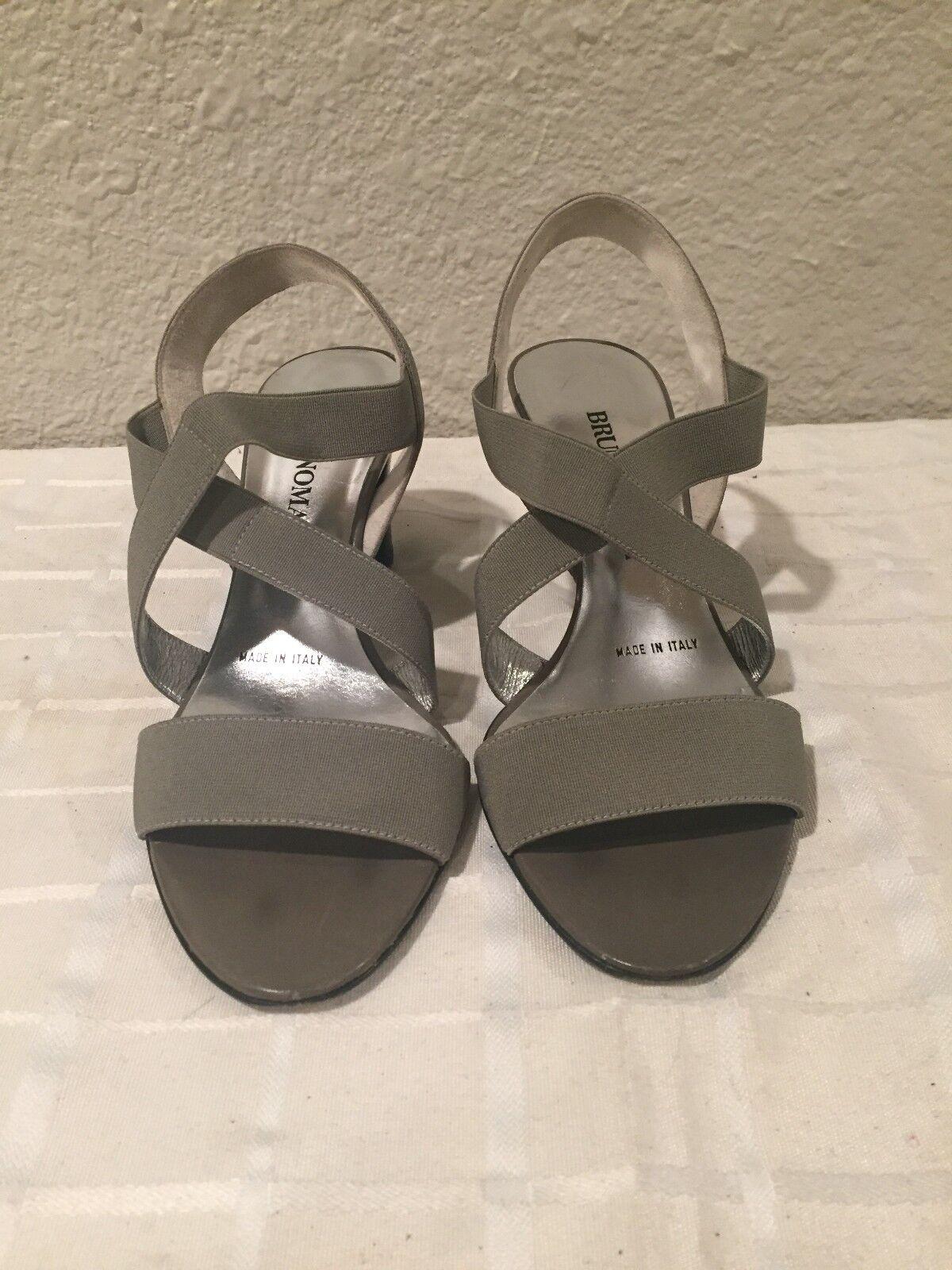 Bruno Magli US Silver Grey Fabric Sandals Heels 35 EU/5 US Magli Made in Italy 459e64