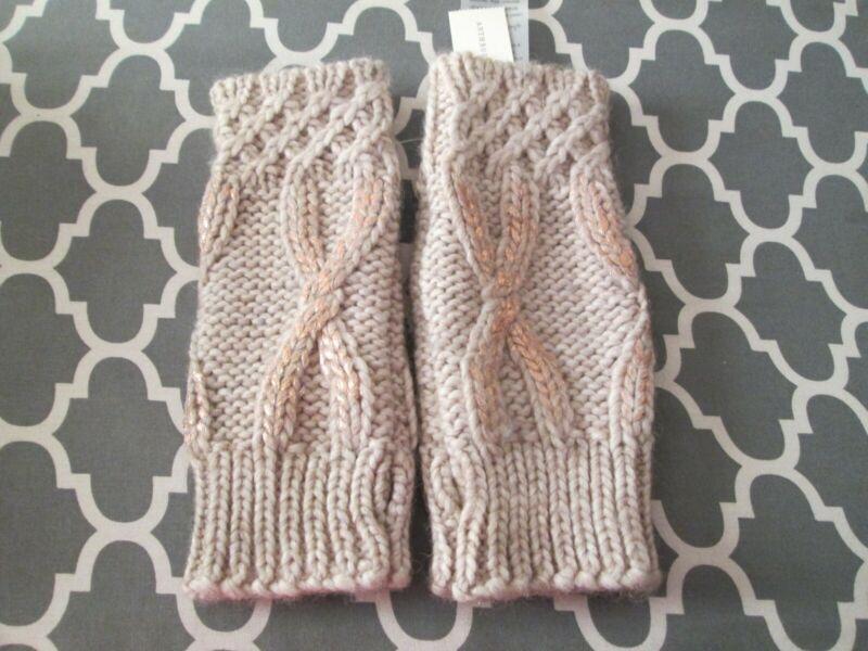 New Anthropologie Beige Cable Knit Rose Gold Metallic Fingerless Mitten Arm Warm
