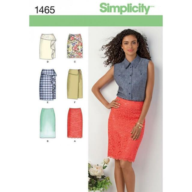 SIMPLICITY SEWING PATTERN MISSES' SKIRT FRONT & TRIM VARIATIONS  SIZE 4- 22 1465