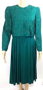 f7595e52e3397 Image is loading Talbots-Dress-Petite-Long-Sleeve-Green-Embellished- Embroidered-