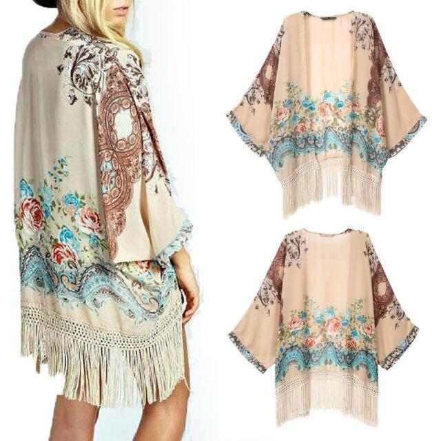 Vintage Women Floral Loose Shawl Kimono Cardigan Boho Chiffon Coat Jacket Blouse