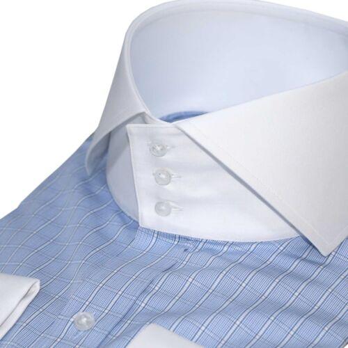 Collo Bianco Banchieri Camicie Alto Con Colletto Spacco Buttons Uomo 3 Blu qdI44