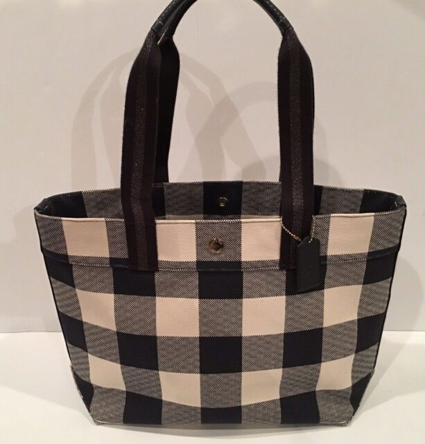4467d80d02 Coach F66867 Tote Wtih Buffalo Plaid Print Handbag Midnight