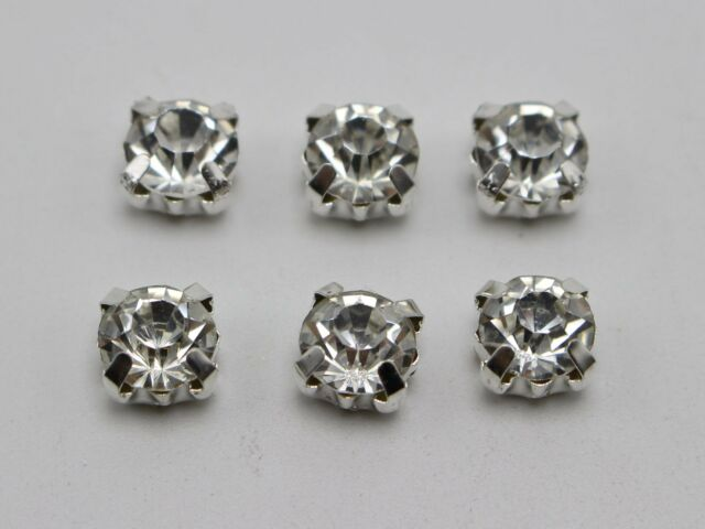 250 Silver Clear Crystal Glass Rhinestones Rose Montees 8mm Sew on Beads