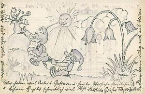Ansichtskarte wohl handgez. Karte abgest. Ettlingen 1934 Zwerge (Waßner?) - Eggenstein-Leopoldshafen, Deutschland - Ansichtskarte wohl handgez. Karte abgest. Ettlingen 1934 Zwerge (Waßner?) - Eggenstein-Leopoldshafen, Deutschland