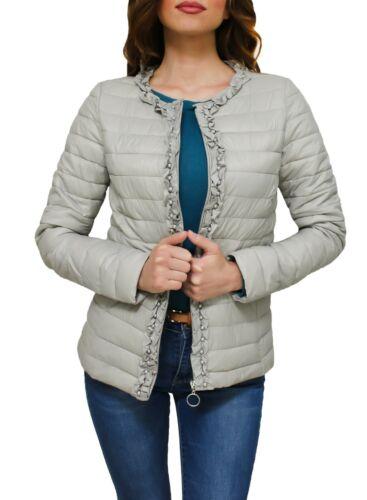Giubbotto piumino donna beige casual giacca giubbino 100 grammi taglia S