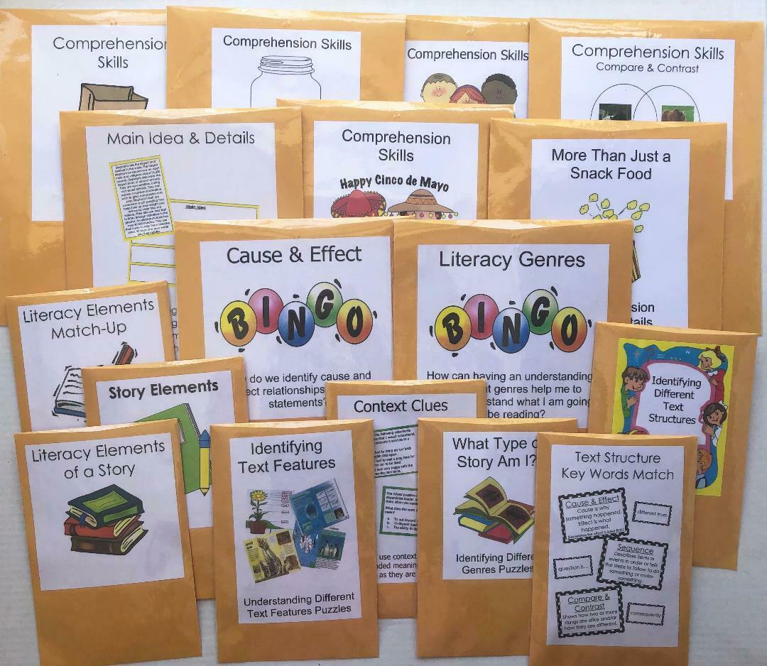 54 Teacher Made Literacy Centers Activity Games Reading & Writing Skills Grade 4