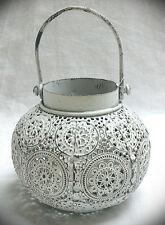 Windlicht Metall rund Laterne Henkelweiss 10cm Teelichthalter antik Marokko
