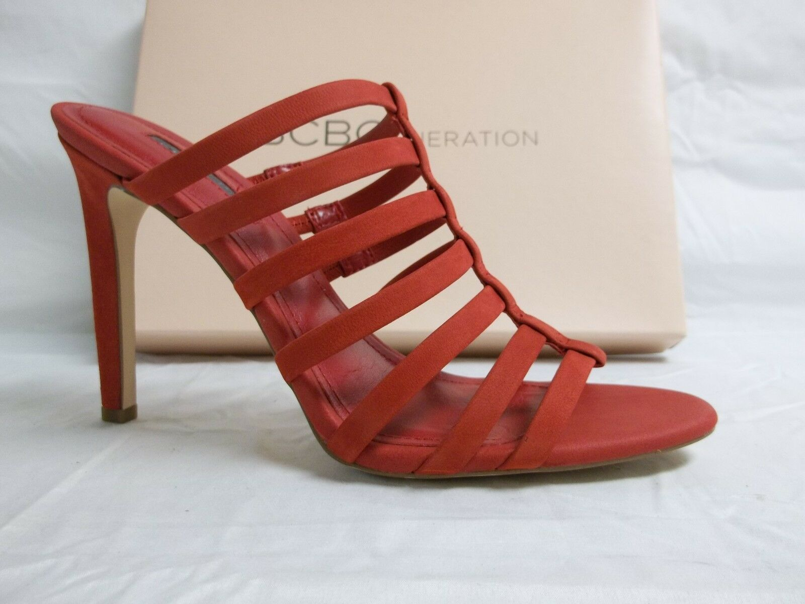 BCBGeneration BCBG Size 7.5 M Callie Red Leather Heels New Womens shoes NWOB