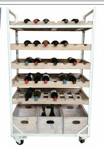 White-Rustic-Recycled-Timber-Industrial-Wine-Rack-on-castors-40-bottles