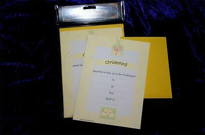 BABY CHRISTENING invite INVITATIONS PAD X20 envelopes LEMON CUTE TEDDY db