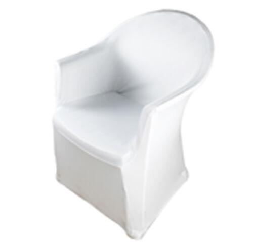 Stretch Stuhlhusse mit Armlehne Weiß Gummifuß doppelt vernäht 50 Stück Paket