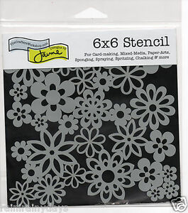 The-Crafter-039-s-Workshop-6-034-x-6-034-stencil-Mini-Gathered-Flowers-tcw176s