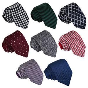 Mens-Slim-Tie-Knit-Knitted-Solid-Plain-Pattern-Check-Stripe-Polka-Necktie-by-DQT