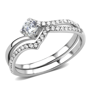W163 2.1CT OVAL 2PCS SIMULATED DIAMOND WEDDING BAND RING SET stainless steel
