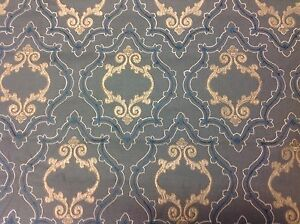 Colefax Fowler Embroidered Trellis Upholstery Fabric Purcell Blue