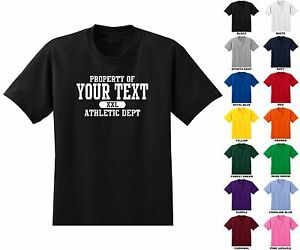 Property-Of-034-Your-Text-034-Athletic-Dept-Custom-Personalized-Adult-Men-039-s-T-shirt