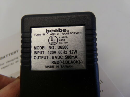 BEEBE 6V BATTERY CHARGER W// ALLIGATOR CLIPS AC ADAPTER 120V MODEL D6500 NEW