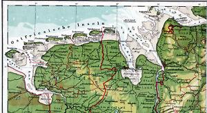 Ostfriesland-WHV-BHV-Cuxhaven-1920-orig-Atlas-Teilkarte-Emden-Norderney-Borkum