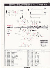 1980 YAMAHA MUSICAL INSTRUMENT PARTS LIST ad sheet - SOPRANO SAXAPHONE YSS-62 #1