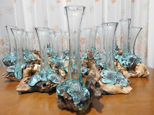 Glass Vase Rare Handmade Blown On Old Real Tree wood Driftwood Molten Sculptural