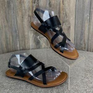 Madeline-034-Divania-034-Sandals-Women-039-s-8M-Black-Flats-Sling-Back-Thong-Toe