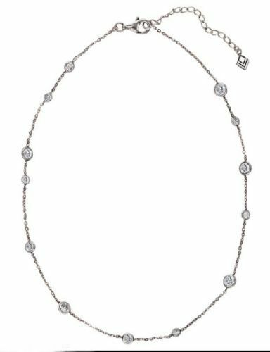 Silpada 925 CZ Scattered Stars Infinity Station Necklace N2153 16-18in