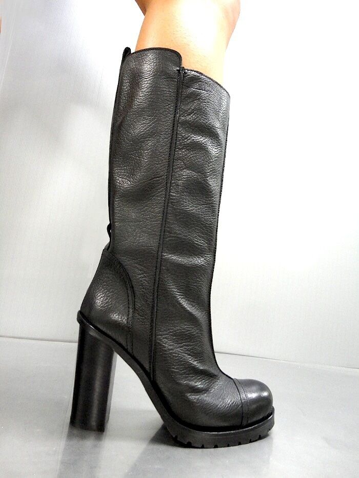 MORI MADE IN ITALY KNEE HIGH BOOTS STIEFEL STIVALI BIKER LEATHER BLACK black 41
