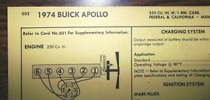 1974 buick apollo wiring diagram 1974 buick six series apollo models 250 ci l6 1bbl tune up chart  apollo models 250 ci l6 1bbl tune up