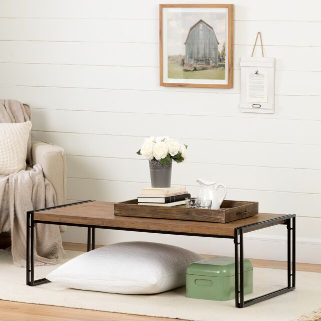 Coffee Table Modern Living Room Furniture Wood Industrial Rustic Bamboo Finish For Sale Online