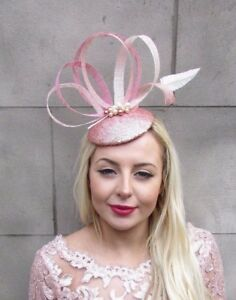 8e2481277dbb9 Rose Gold Cream Peach Pink Sequin Feather Fascinator Hat Hair Clip ...