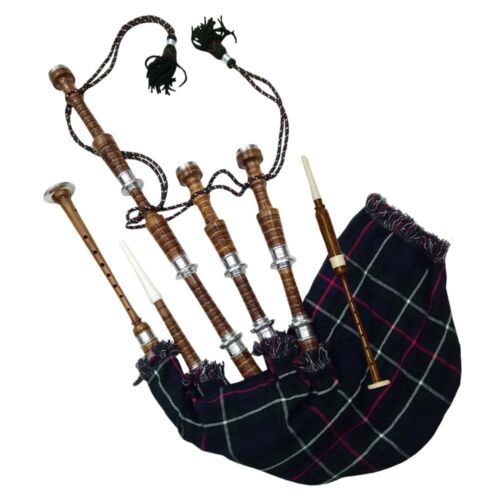 Scottish Bagpipe Brown Silver Mounts Natural Finish With Tutor Book Dudelsack