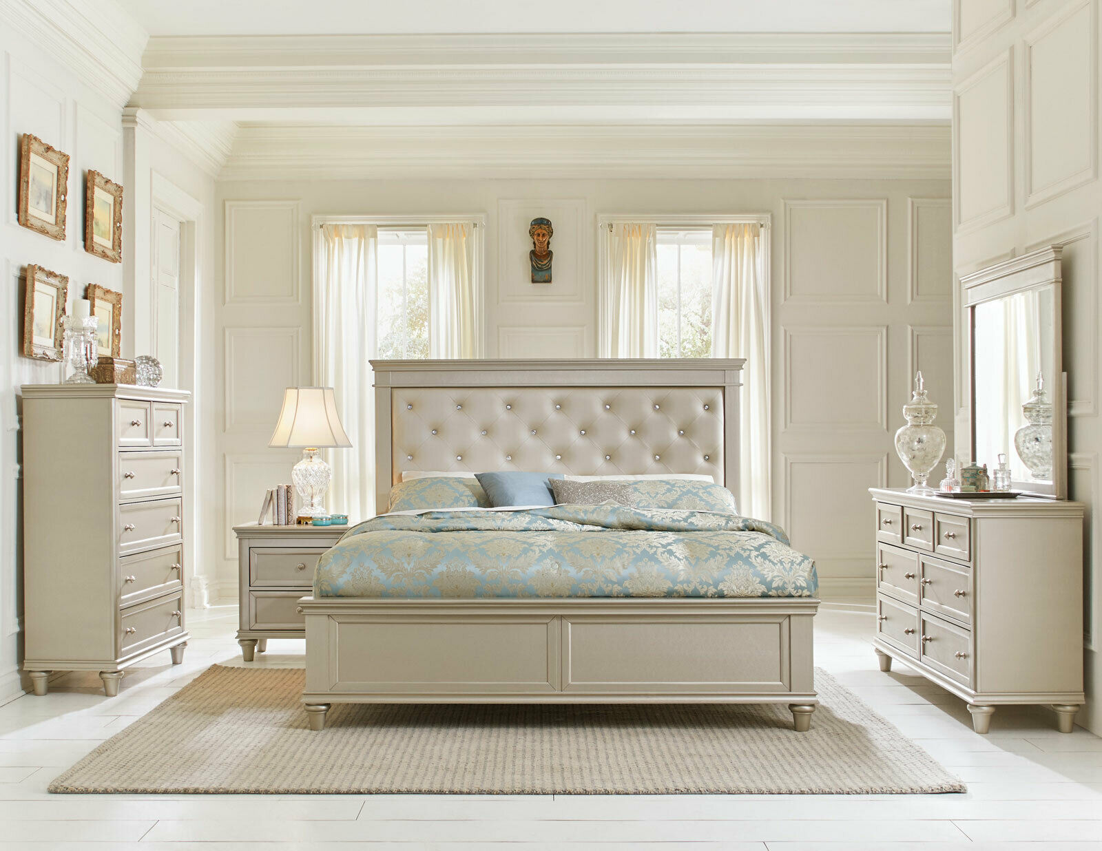 Traditional Pearl Silver Finish 5 Piece Bedroom Set W King Upholstered Bed Ia4l
