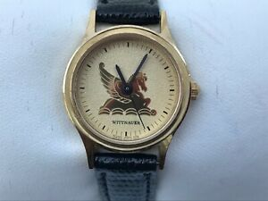 Wittnauer Ladies Watch Gold Tone Black Genuine Leather Band Japan Movt Size 5.5