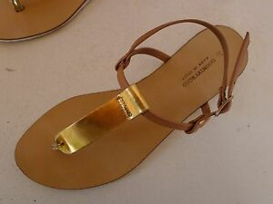 Country-Road-37-gold-beige-strappy-sandals-shoes-Italy-Very-good-used