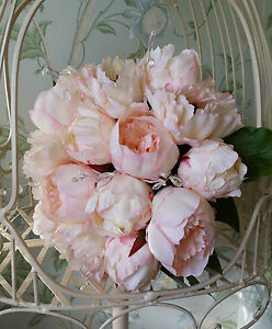 Image Is Loading Pale Pink Peony Handtied Brides Bouquet Bridesmaid Wedding