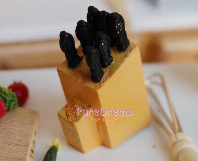 1/12 Dollhouse Miniature Kitchenware Knife Set Knife Handle Pasted On the Wood