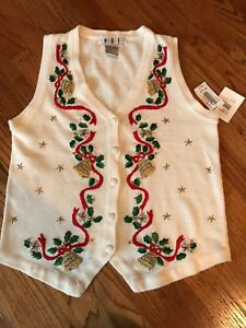 Details about NWT Womens Christmas Ugly Sweater Vest Small S Embroidered Embellished New
