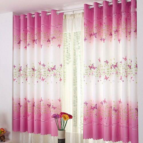 Blackout Curtains Butterfly Pattern Thermal Kids Children Room Window Curtain UK