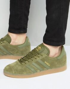 ef03bc3f64dd Image is loading adidas-Originals-GAZELLE-Cargo-OLIVE-Green-Suede-GOLD-